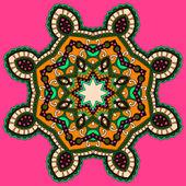 サークル レース飾り, 装飾的な幾何学的なドイリー パターンをラウンド — ストックベクタ