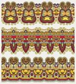 Raccolta di strisce floreali ornamentali senza soluzione di continuità — Vettoriale Stock