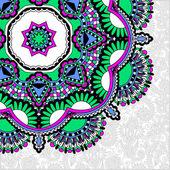 Floral, rond point, en style ethnique oriental ukrainien pour votre — Vecteur