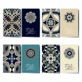 Collection of ornamental floral business cards, oriental pattern — Stock Vector
