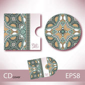 CD cover design template with ukrainian ethnic style ornament fo — Stock vektor