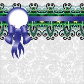 этнические орнамент с шелковой лентой и место для ваших co — Cтоковый вектор