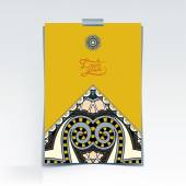 Decorative sheet of paper with oriental floral design and place — Cтоковый вектор