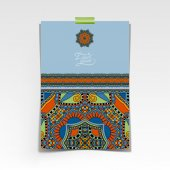 Decorative sheet of paper with oriental floral design and place — Stockvektor