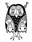 Original artwork of owl, ink hand drawing in ethnic style — ストックベクタ