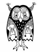 Original artwork of owl, ink hand drawing in ethnic style — Stock Vector