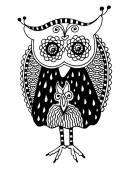 Original artwork of owl, ink hand drawing in ethnic style — Vecteur