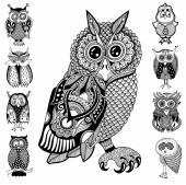 Original artwork of owl, ink hand drawing in ethnic style collec — Vector de stock