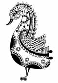 Ink drawing of tribal ornamental bird, ethnic pattern, black and — Stock Vector