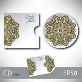 CD cover design template with ukrainian ethnic style ornament — Stock vektor