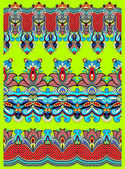 Seamless ethnic floral paisley stripe pattern, border set — Stock Vector