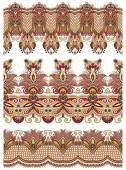 Seamless ethnic floral paisley stripe pattern, border set — Stockvektor