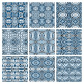 Set of different seamless colored vintage geometric pattern — Stockvector