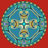 Decorative design of circle dish template, round geometric patte — Stock Vector