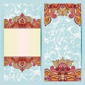 Decorative label card for vintage design, ethnic pattern, antiqu — Stock Vector
