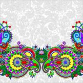 Paisley design on decorative floral background for invitation, p — Διανυσματικό Αρχείο