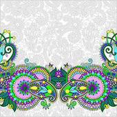 Paisley design on decorative floral background for invitation — Διανυσματικό Αρχείο