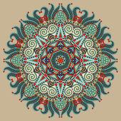 Adorno de encaje círculo, redondo tapete ornamentales geométricas patrón — Vector de stock