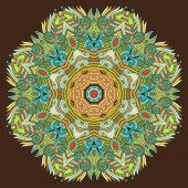 Ornement dentelle de cercle, rond motif ornemental napperon géométrique — Vecteur