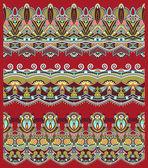 Seamless ethnic floral paisley stripe pattern, border set, ukrai — Stock Vector