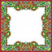 Floral vintage frame, ukrainian ethnic style — Stok Vektör