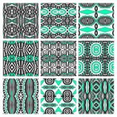 Set of different seamless colored vintage geometric pattern, tex — Stock Vector