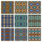 Set of different seamless colored vintage geometric pattern, tex — Stok Vektör