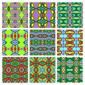 Set of different seamless colored vintage geometric pattern, tex — Vettoriale Stock