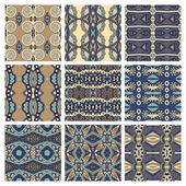 Set of different seamless colored vintage geometric pattern, tex — Wektor stockowy