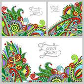 Set di sfondo decorativo floreale, modello telaio design per c — Vettoriale Stock