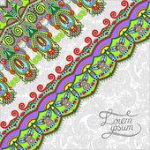 Ornamental background with flower ribbon, stripe pattern, greeti — Vector de stock