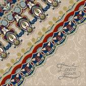 Ornamental background with flower ribbon, stripe pattern, greeti — Stockvektor