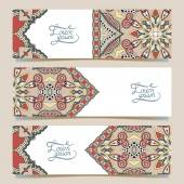 Set of three horizontal banners with decorative ornamental flowe — Stock Vector