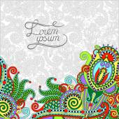 Paisley design on decorative floral background for invitation, p — ストックベクタ