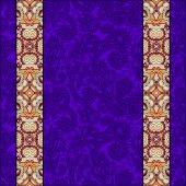 Lace border stripe in ornate floral background — Stockvektor