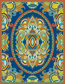 Ukrainian floral carpet design for print on canvas or paper, kar — Vetor de Stock
