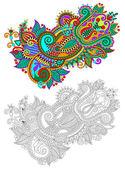 Ursprungliga hand rita linje konst utsmyckade blomma design — Stockvektor