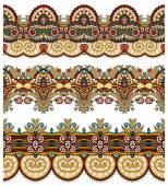 Seamless ethnic floral paisley stripe pattern, border set — Vecteur