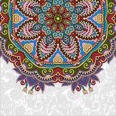 Floral round pattern in ukrainian oriental ethnic style — Stock Vector