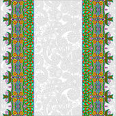 Ornamental background with flower ribbon, stripe pattern — Vecteur