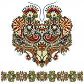 Neckline ornate floral paisley embroidery fashion design — Stock Vector