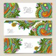 Three horizontal banners with decorative ornamental flowers — Stock Vector #56624333