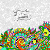 Paisley design on decorative floral background for invitation — Stockvector