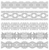 Collection of seamless ornamental floral stripes, black and whit — Stock Vector