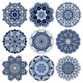 круг кружевной орнамент, раунд орнаментальные геометрические салфетка шаблон c — Cтоковый вектор