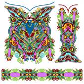 Neckline ornate floral paisley embroidery fashion design, ukrain — Stockvector