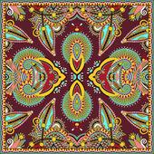 Traditional ornamental floral paisley bandanna. Square ornament — Stock Vector