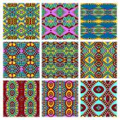 Set of different seamless colored vintage geometric pattern, tex — ストックベクタ
