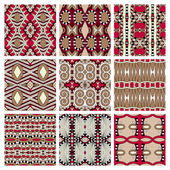 Set of different seamless colored vintage geometric pattern, tex — Stockvector