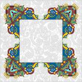 Floral frame, ethnic ukrainian ornament on paisley background wi — Stock Vector